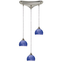 Cira 3 Light 10 inch Satin Nickel Pendant Ceiling Light in Pebbled Blue Glass