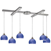 Cira 6 Light 33 inch Satin Nickel Pendant Ceiling Light in Pebbled Blue Glass