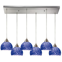 Cira 6 Light 30 inch Satin Nickel Pendant Ceiling Light in Pebbled Blue Glass