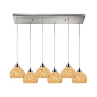 Cira 6 Light 30 inch Satin Nickel Pendant Ceiling Light in Pebbled Gray-White Glass