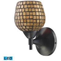 Celina LED 6 inch Dark Rust Wall Sconce Wall Light in Gold Leaf Mosaic Glass