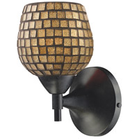 Celina 1 Light 6 inch Dark Rust Sconce Wall Light in Standard, Gold Leaf Mosaic Glass