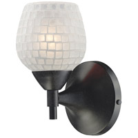 Celina 1 Light 6 inch Dark Rust Sconce Wall Light in Standard, White Mosaic Glass