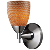 Celina 1 Light 6 inch Polished Chrome Sconce Wall Light in Standard, Cocoa Glass
