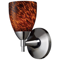 ELK 10150/1PC-ES Celina 1 Light 6 inch Polished Chrome Sconce Wall Light in Standard, Espresso Glass photo thumbnail