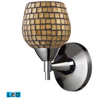 Celina LED 6 inch Polished Chrome Wall Sconce Wall Light in Gold Leaf Mosaic Glass