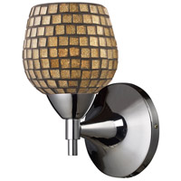 Celina 1 Light 6 inch Polished Chrome Sconce Wall Light in Standard, Gold Leaf Mosaic Glass