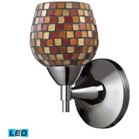 Celina LED 6 inch Polished Chrome Wall Sconce Wall Light in Multi Mosaic Glass