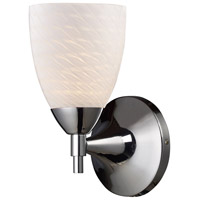 Celina 1 Light 6 inch Polished Chrome Sconce Wall Light in Standard, White Swirl Glass