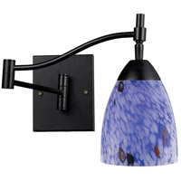 Celina 22 inch 60 watt Dark Rust Swingarm Wall Light in Standard, Starburst Blue Glass