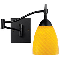 Celina 22 inch 60 watt Dark Rust Swingarm Wall Light in Standard, Canary Glass