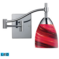 Celina 22 inch 13.5 watt Polished Chrome Swingarm Sconce Wall Light in LED, Autumn Glass
