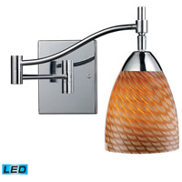 Celina 22 inch 13.5 watt Polished Chrome Swingarm Sconce Wall Light in LED, Cocoa Glass
