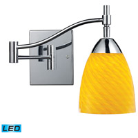 Celina 22 inch 13.5 watt Polished Chrome Swingarm Sconce Wall Light in LED, Canary Glass