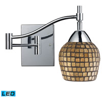 Celina 22 inch 13.5 watt Polished Chrome Swingarm Sconce Wall Light in LED, Gold Leaf Mosaic Glass