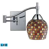 Celina 22 inch 13.5 watt Polished Chrome Swingarm Sconce Wall Light in LED, Multi Mosaic Glass