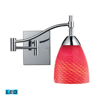Celina 22 inch 13.5 watt Polished Chrome Swingarm Sconce Wall Light in LED, Scarlet Red Glass