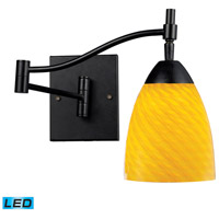 Celina 22 inch 13.5 watt Dark Rust Swingarm Sconce Wall Light in LED, Canary Glass