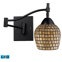 Celina 22 inch 9.5 watt Dark Rust Swing Arm Sconce Wall Light in Gold Leaf Mosaic Glass, LED
