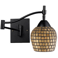 Celina 22 inch 60 watt Dark Rust Swing Arm Sconce Wall Light in Gold Leaf Mosaic Glass, Incandescent