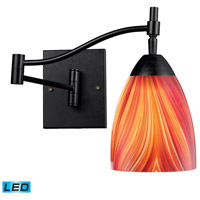 Celina 22 inch 13.5 watt Dark Rust Swingarm Sconce Wall Light in LED, Multi Glass