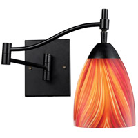 Celina 22 inch 60 watt Dark Rust Swing Arm Sconce Wall Light in Multi Glass, Incandescent