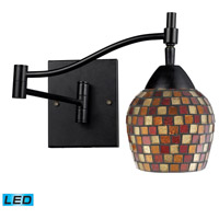 Celina 22 inch 13.5 watt Dark Rust Swingarm Sconce Wall Light in LED, Multi Mosaic Glass
