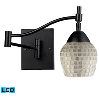 Celina 22 inch 13.5 watt Dark Rust Swingarm Sconce Wall Light in LED, Silver Mosaic Glass