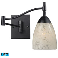 Celina 22 inch 13.5 watt Dark Rust Swingarm Sconce Wall Light in LED, Snow White Glass