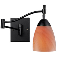 Celina 22 inch 60 watt Dark Rust Swingarm Sconce Wall Light in Sandy Glass, Incandescent