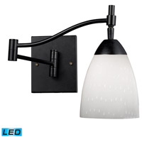 Celina 22 inch 13.5 watt Dark Rust Swingarm Sconce Wall Light in LED, Simply White Glass