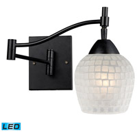 Celina 22 inch 13.5 watt Dark Rust Swingarm Sconce Wall Light in LED, White Mosaic Glass