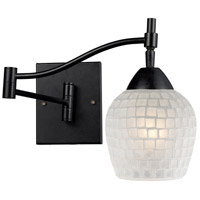 Celina 22 inch 60 watt Dark Rust Swing Arm Sconce Wall Light in White Mosaic Glass, Incandescent