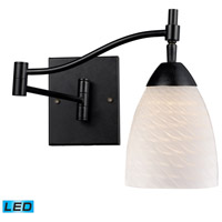 Celina 22 inch 13.5 watt Dark Rust Swingarm Sconce Wall Light in LED, White Swirl Glass