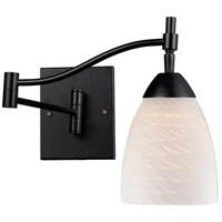 Celina 22 inch 60 watt Dark Rust Swingarm Sconce Wall Light in White Swirl Glass, Incandescent