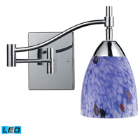 Celina 22 inch 13.5 watt Polished Chrome Swingarm Sconce Wall Light in LED, Starburst Blue Glass