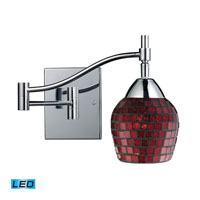 Celina 22 inch 13.5 watt Polished Chrome Swingarm Sconce Wall Light in LED, Copper Mosaic Glass