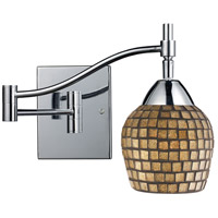 Celina 22 inch 60 watt Polished Chrome Swingarm Wall Light in Standard, Gold Leaf Mosaic Glass