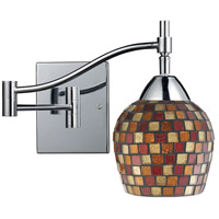Celina 22 inch 60 watt Polished Chrome Swingarm Wall Light in Standard, Multi Mosaic Glass