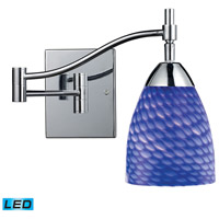 Celina 10 inch 9.5 watt Polished Chrome Swingarm Wall Light in LED, Sapphire Glass