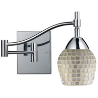 Celina 22 inch 60 watt Polished Chrome Swingarm Wall Light in Standard, Silver Mosaic Glass