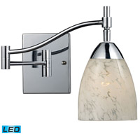 Celina 22 inch 13.5 watt Polished Chrome Swingarm Sconce Wall Light in LED, Snow White Glass