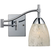 Celina 22 inch 60 watt Polished Chrome Swingarm Sconce Wall Light in Snow White Glass, Incandescent