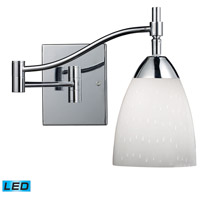 Celina 22 inch 9.5 watt Polished Chrome Swingarm Sconce Wall Light in Simply White Glass, LED