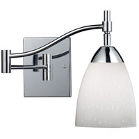 Celina 22 inch 60 watt Polished Chrome Swingarm Sconce Wall Light in Simply White Glass, Incandescent