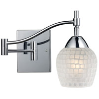 Celina 22 inch 60 watt Polished Chrome Swingarm Wall Light in Standard, White Mosaic Glass