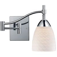 Celina 22 inch 60 watt Polished Chrome Swingarm Sconce Wall Light in White Swirl Glass, Incandescent