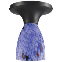 Celina 1 Light 7 inch Dark Rust Semi-Flush Mount Ceiling Light in Incandescent, Starburst Blue Glass, Standard