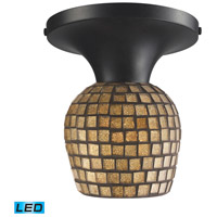 Celina LED 7 inch Dark Rust Semi-Flush Mount Ceiling Light in Gold Leaf Mosaic Glass, Standard