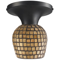 Celina 1 Light 7 inch Dark Rust Semi-Flush Mount Ceiling Light in Incandescent, Gold Leaf Mosaic Glass, Standard